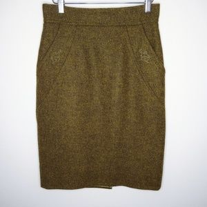 BURBERRY OLIVE GREEN HIGH WAISTED PENCIL SKIRT 40